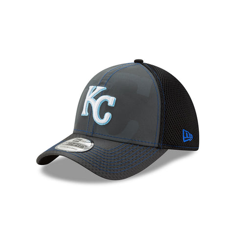 Kansas City Royals Black Flashed Front Neo 39THIRTY Hat by New Era
