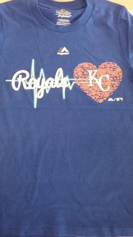 Kansas City Royals Girls 7-16 Heart Beat T-Shirt by Outerstuff
