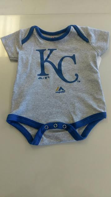"Kansas City Royals Gray ""KC"" Logo Infant Onesie by Outerstuff"