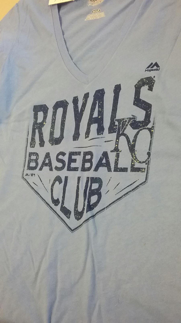 Kansas City Royals Ladies Turn Two V Neck T-Shirt by Majestic