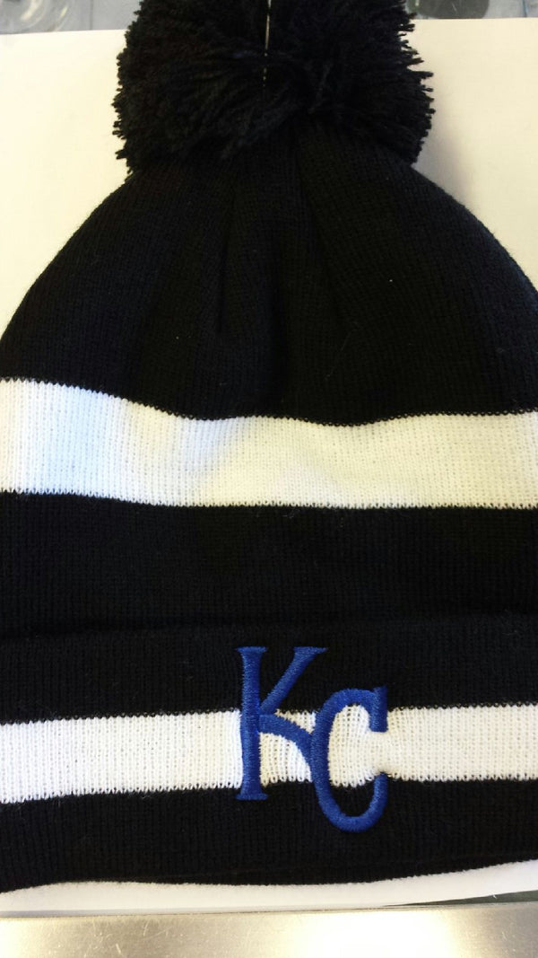 Kansas City Royals Black/White Stripe Cuff Knit Pom by New Era