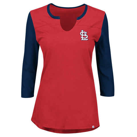St. Louis Cardinals Ladies Above Average 3/4 Sleeve T-Shirt by Majestic