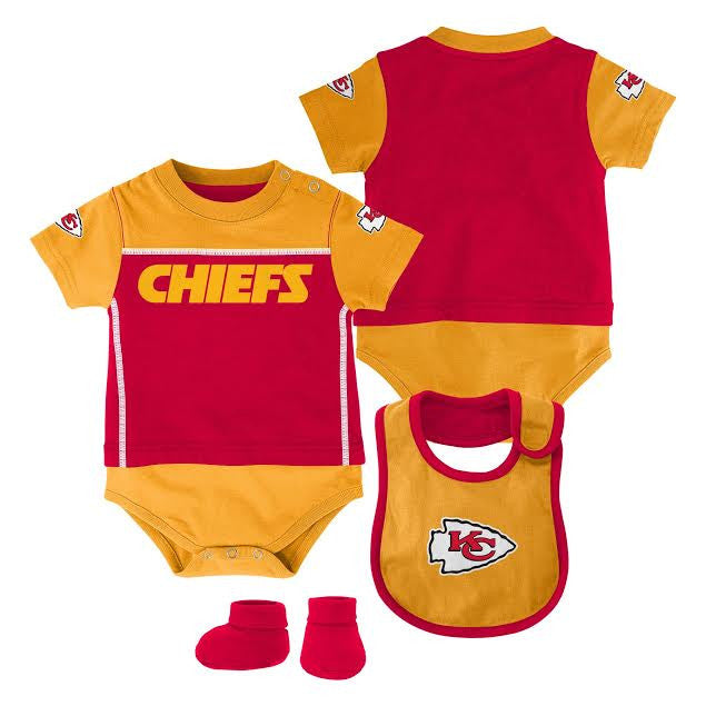 Kansas City Chiefs 3 Piece Bodysuit Set Newborn & Infant