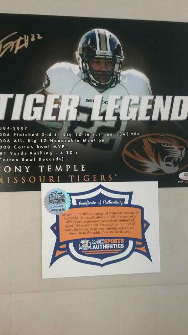 "Missouri Tigers Mizzou Tony Temple Autographed Signed Tiger Legends 8""x10"" COA CLEARANCE"