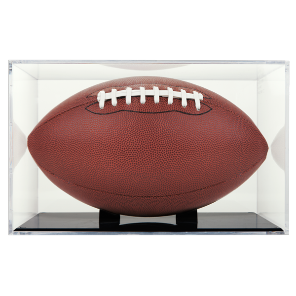 UV Protected Grandstand Football Display Case (Black Base) by Ballqube