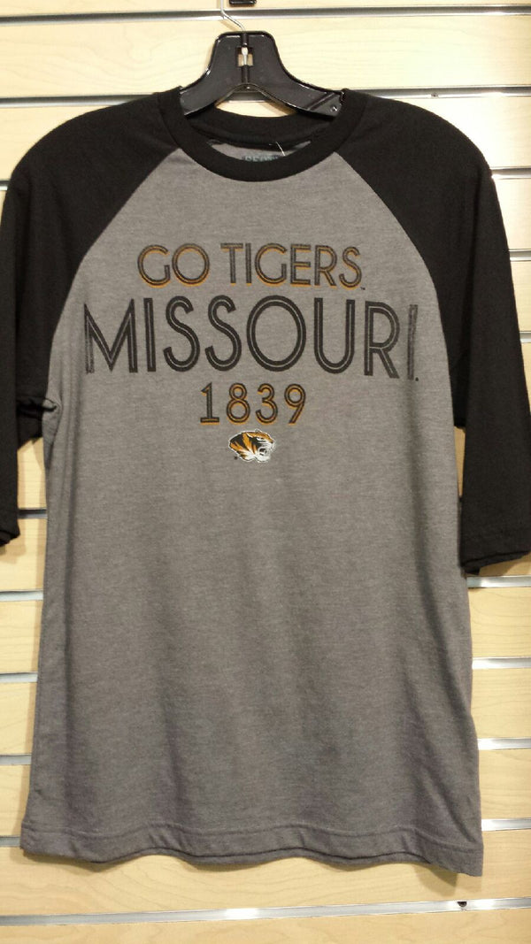 Missouri Tigers Men's 1/2 Sleeve Raglan Campus Champs Tee by Majestic