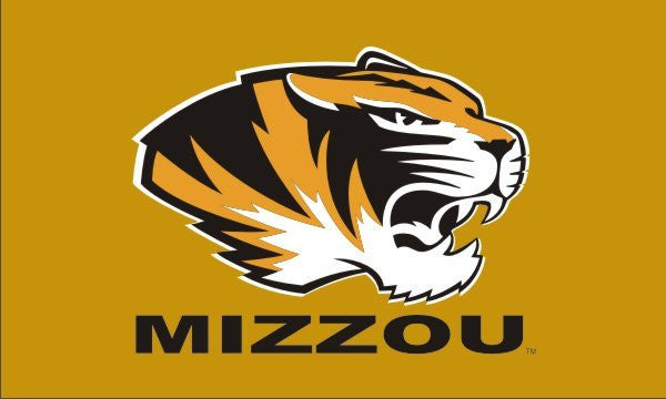 "Missouri Tigers 3""x5"" Gold Tiger Head Mizzou Flag"