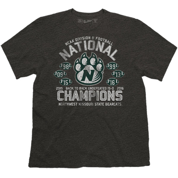 Northwest Missouri State 2016 National Champions 6-Time Champs S/S Black Tee