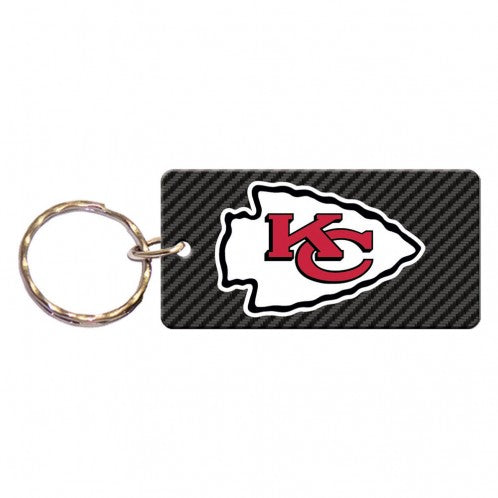 Kansas City Chiefs Carbon / Mirror Back Rectangle Keychain