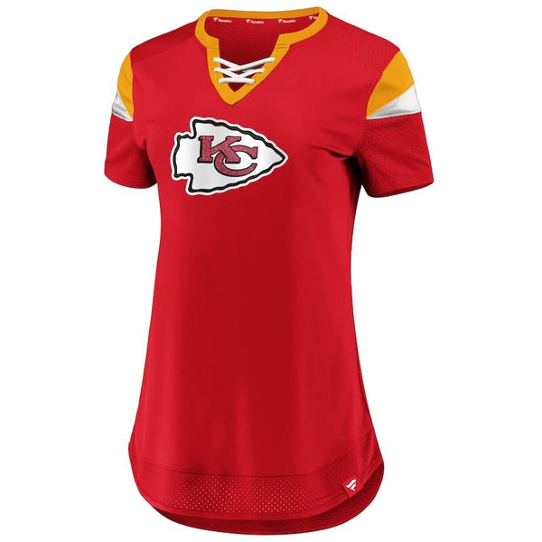 Kansas City Chiefs Womens Red Draft Me Lace-Up Tee by Fanatics