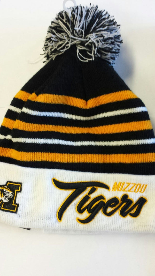 Missouri Tigers Snow Stripe Cuffed Pom Knit by New Era