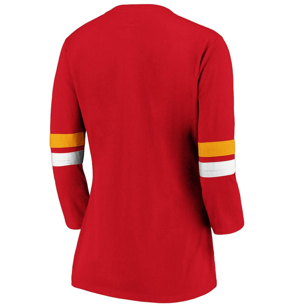 Kansas City Chiefs Women's Red/Gold Iconic Stripe 3/4 Sleeve T-Shirt by Fanatics
