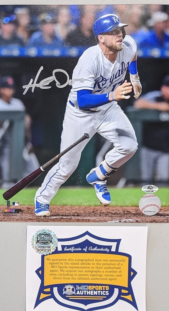 Hunter Dozier Signed Hitting 16x20 Photo COA