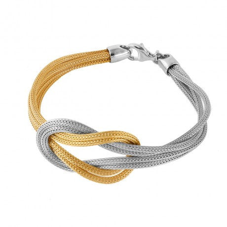Gold Two Tone Knot Bracelet