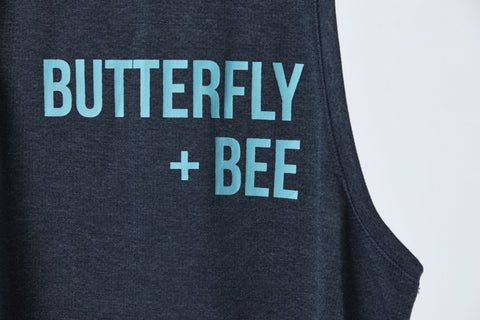 Heritage Muscle Tank - Butterfly + Bee in Heathered Navy - (Orig. $45)