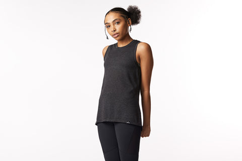 Society Nine Matrix Tank in Heathered Black