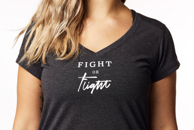 """Fight or Flight"" Tee in Heathered Black"