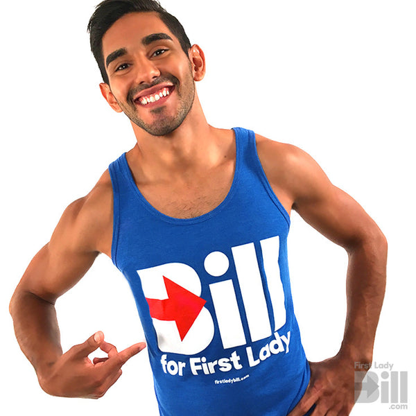 """Bill for First Lady"" Blue Unisex Heather Tri-blend Tank Top T-Shirt"