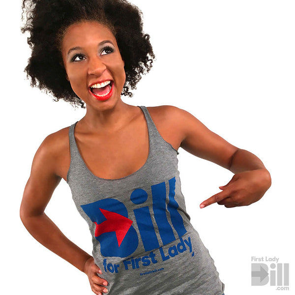"""Bill for First Lady"" Grey Heather Tri-blend Racerback Tank Top"