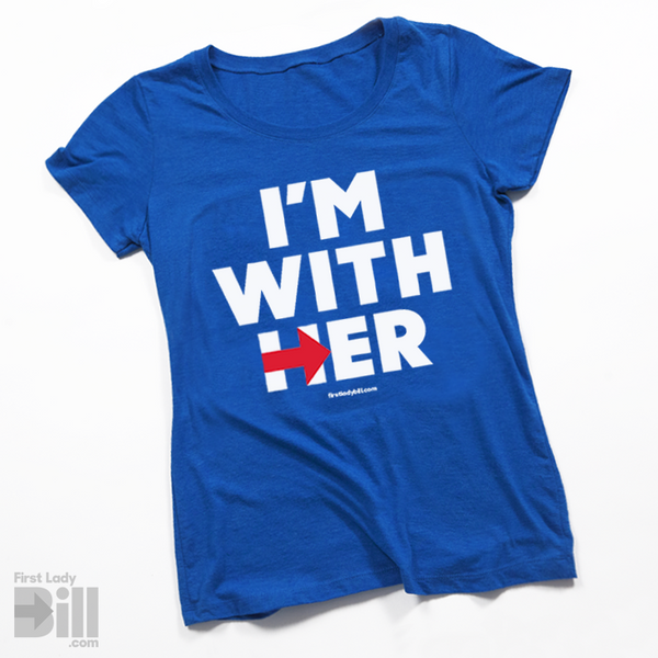 "Hillary ""I'm With Her"" Blue Heather Womens Fitted Tri-blend T-Shirt"