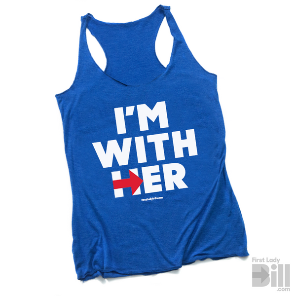 "Hillary ""I'm With Her"" Blue Heather Tri-blend Racerback Tank Top"