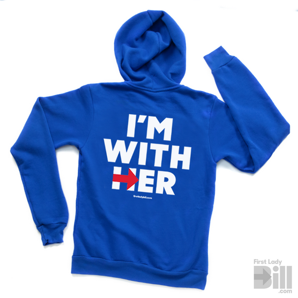 "Hillary ""I'm With Her"" Blue Fleece Unisex Zip-Up Hoodie"