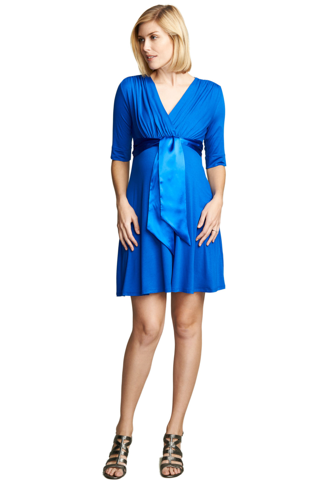 MATERNITY/NURSING FRT SATIN TIE DRESS