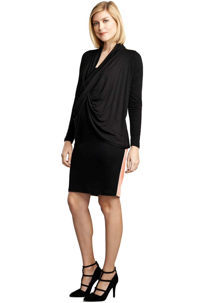 MATERNITY/NURSING FRONT DRAPE DRESS