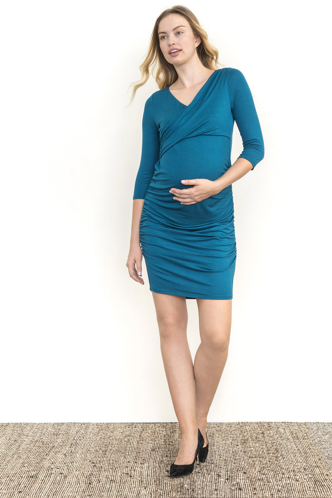 WRAP RUCHED DRESS