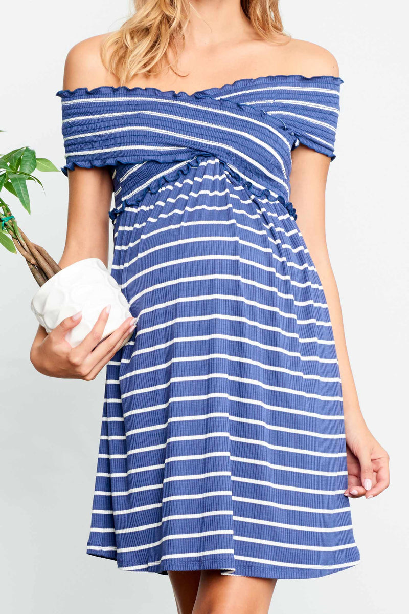 Criss Cross Off Shoulder Mini Dress
