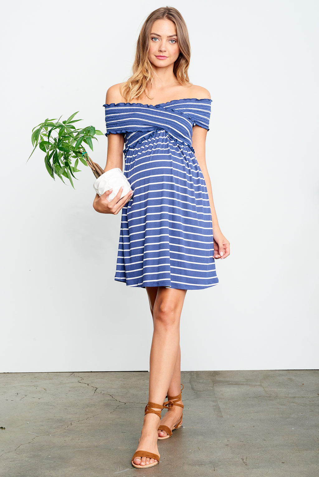 Striped Criss Cross Off Shoulder Mini Dress