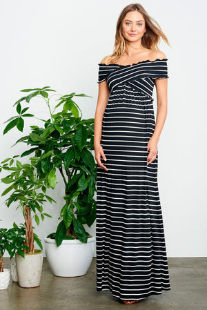 Criss Cross Off The Shoulder Maxi Dress