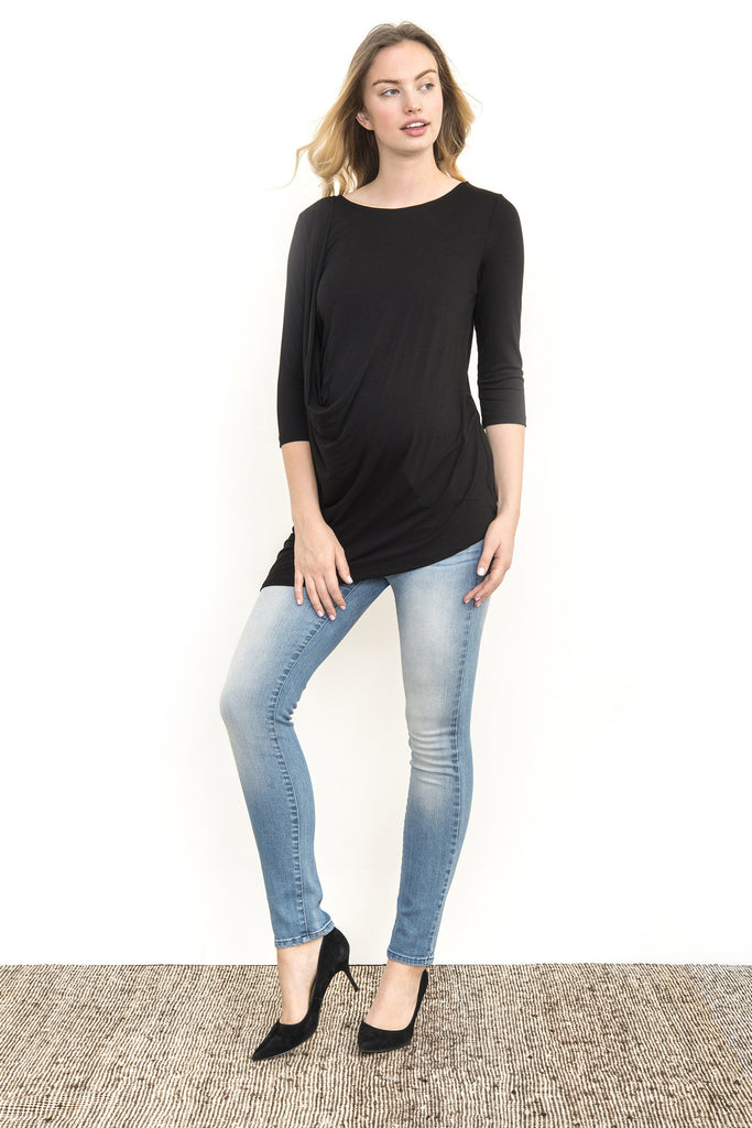 SHOULDER PLEAT TEE