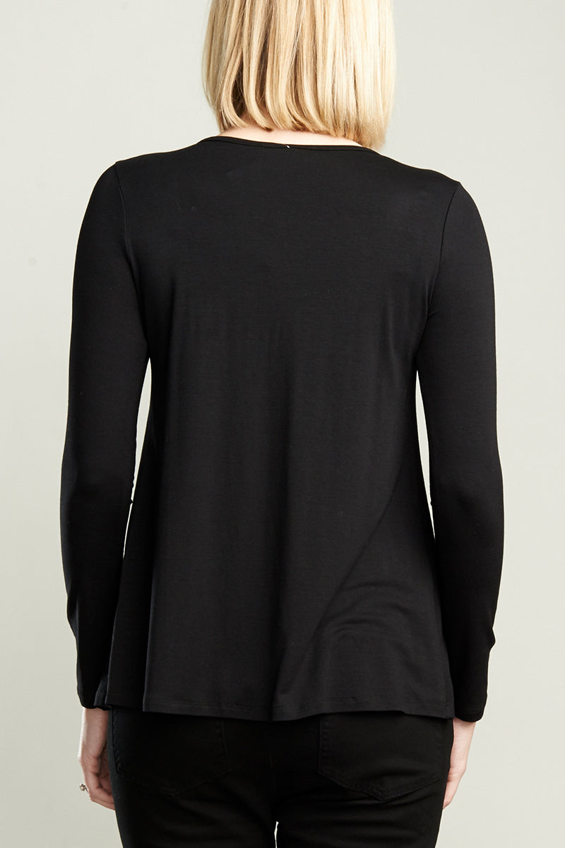 Black Chiffon Knit Top