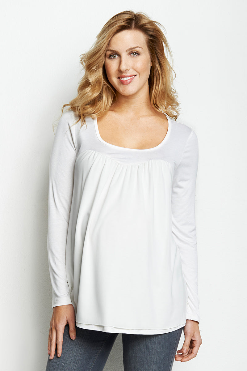 White Chiffon Knit Top