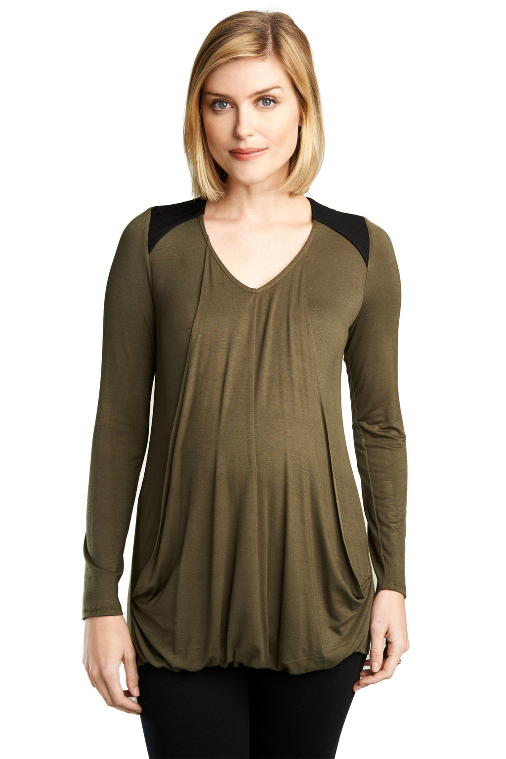 MATERNITY/NURSING QUILTED YOKE TOP