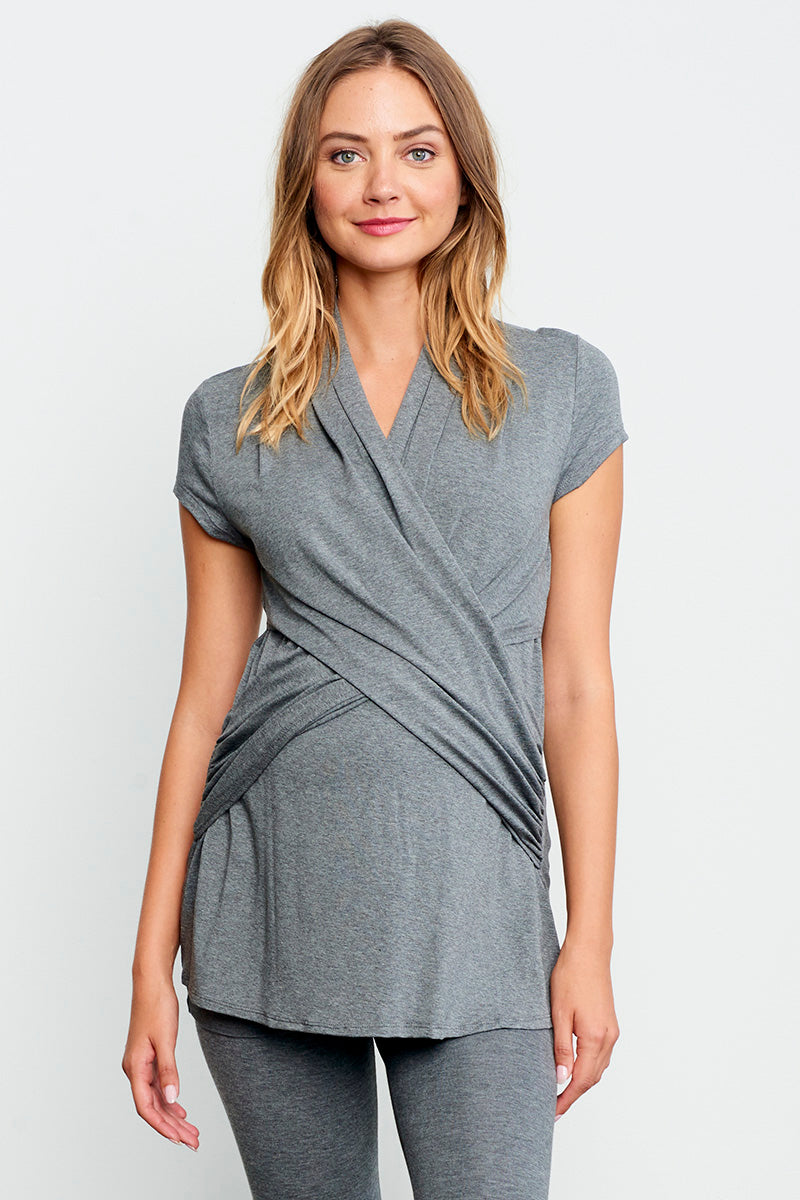 Cross Drape Maternity Nursing Top Short Sleeve