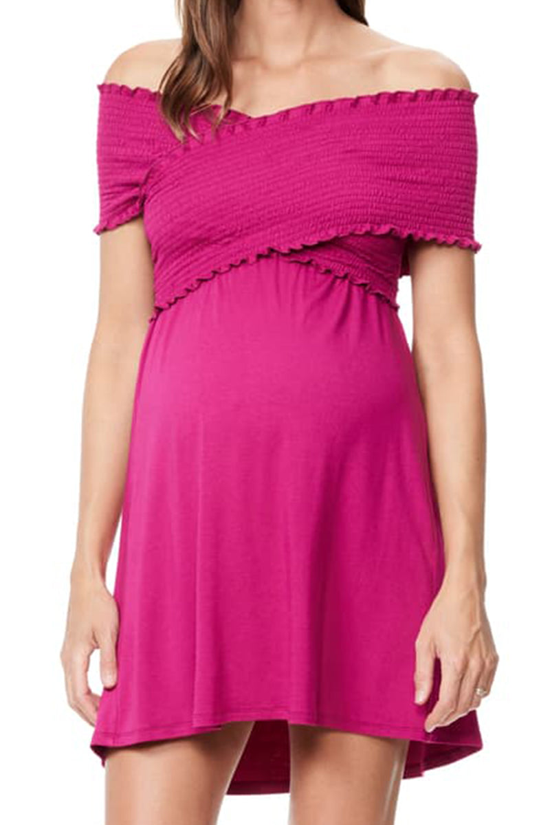 Crisscross Off the Shoulder Nursing Dress