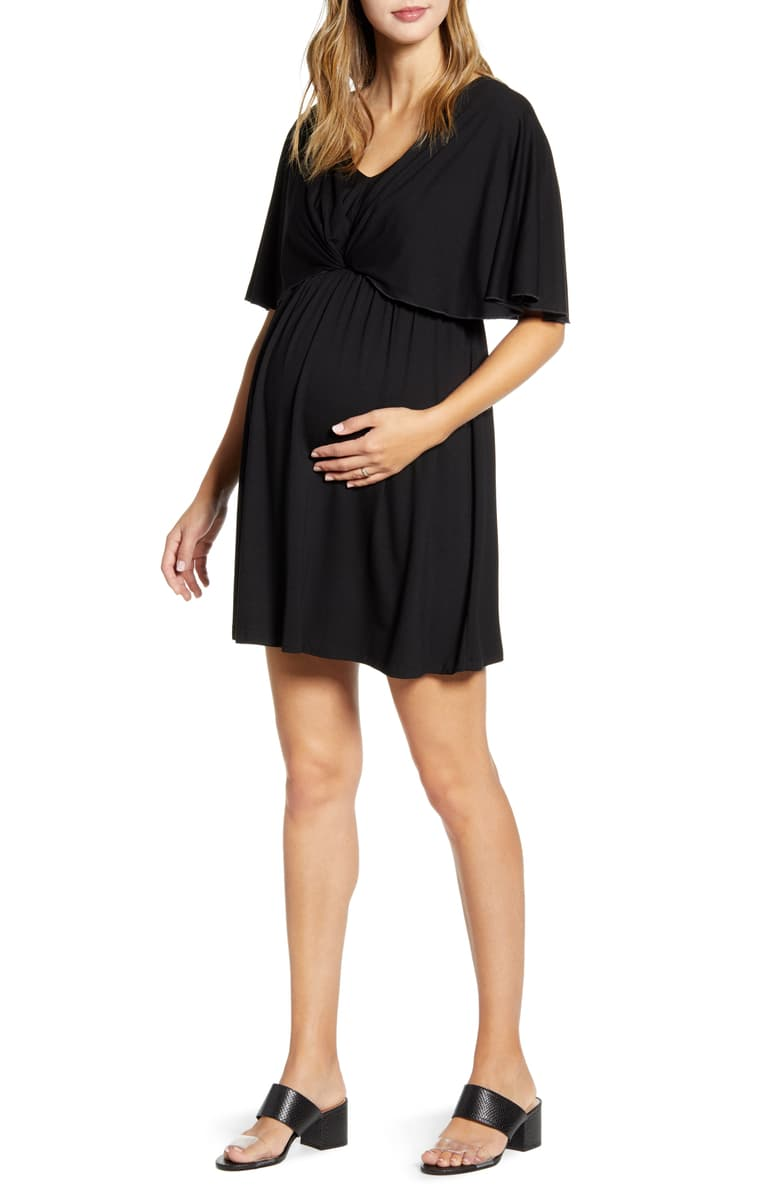 Cape Sleeve Maternity Dress