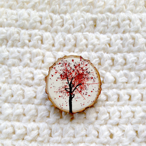 Flame Tree Brooch in a tree branch slice - WEARABLE ART