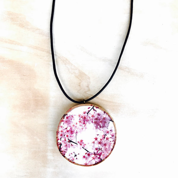 Pink Cherry Blossom Pendant  (small)