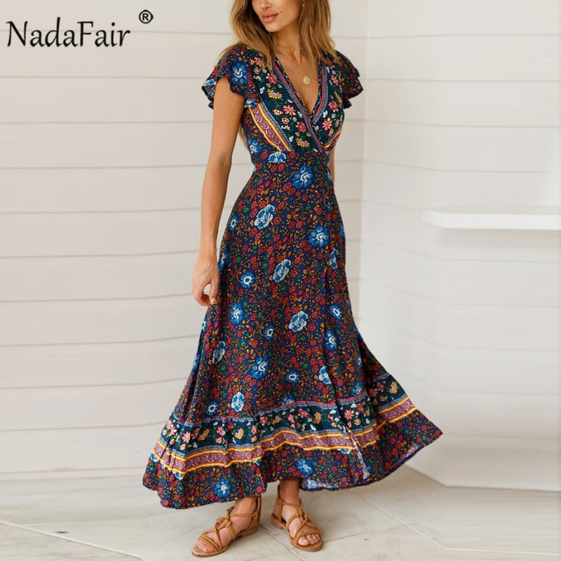 Nadafair Vintage Floral Maxi Dresses Elegant Beach Sash Sexy V Neck Split Print Tunic Long Summer Boho Dress Women Vestidos