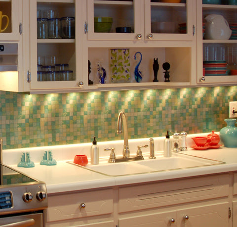 Green Tile Metal Laminate as a full kitchen backsplash.