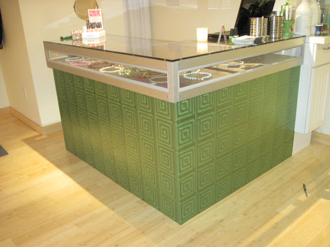 Mirror Maze with Lime Green color on a reception desk.