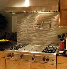 Currents Stainless Steel Kitchen Backsplash Application - SpectraMetal