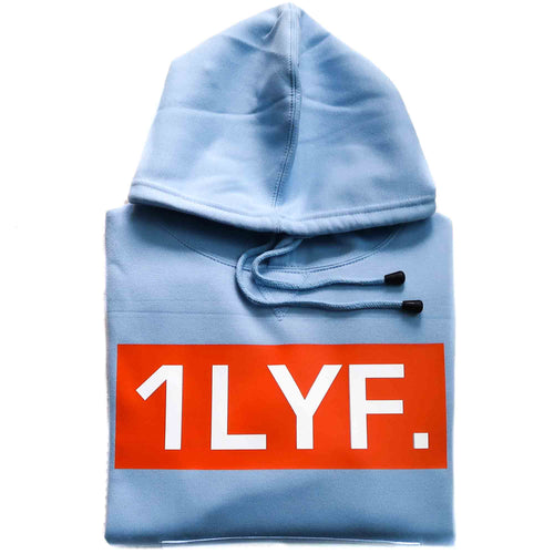 Womens Original Light Blue/Orange Hoodie