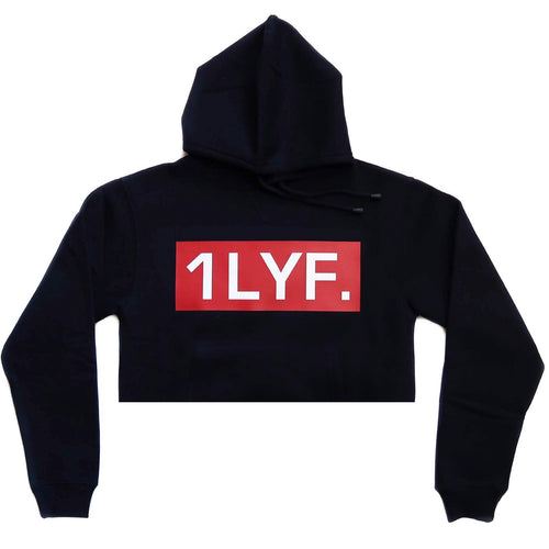 Womens Original Navy/Red Crop Hoodie