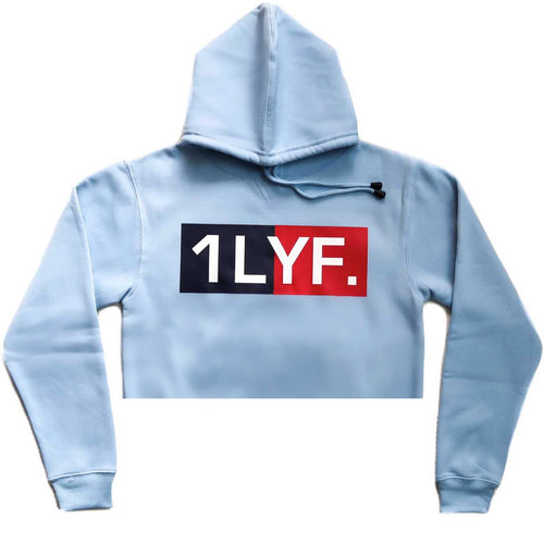 Womens Original Light Blue/Navy Crop Hoodie