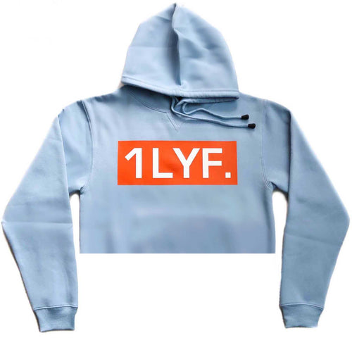 Womens Original Light Blue/Orange Crop Hoodie