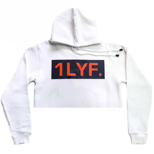 Womens Original White/Orange Crop Hoodie